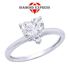 """1 Ct Diamond Round Cut Brilliant Cut 14K Gold Heart Ring """"Mother\'s Day Gift"""". Starting at $1"""