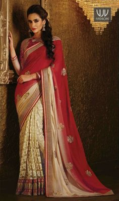 Charming Embroidered Work Party Wear Designer Saree This red net and lycra designer saree is including the appealing glamorous displaying the sense of cute and graceful. The ethnic embroidered and patch border work for the apparel adds a sign of magnificence statement with a look. Comes with matching blouse