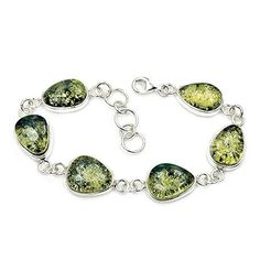 'Forest Queen' Sterling Silver Natural Moss Green Baltic Amber Bracelet, 7-8  Price : $134.95 http://www.silverplazajewelry.com/Forest-Sterling-Silver-Natural-Bracelet/dp/B00P2O53A6
