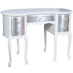 White Glossy Lacquered and Silver Leaf Kidney Vanity/Desk | From a unique collection of antique and modern vanities at http://www.1stdibs.com/furniture/tables/vanities/