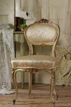 アンティーク プリンセスのチェア(花柄シルク)   French Antique Chair