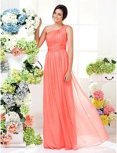 Bridesmaid Dress Floor Length Chiffon Sheath Column One Shoulder Dress (1466937) – USD $ 79.99