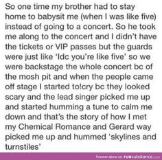 That is freaking adorable! Knew there was a reason I liked My Chemical romance lol <<< I think im going to cry! Tumblr Stuff, My Tumblr, Tumblr Funny, Tumblr Posts, Funny Memes, Hilarious, Faith In Humanity Restored, Lol, Lauren Daigle