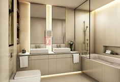 Bit contrived but very linear and clean - black lines detract in this case Guest Bathrooms, Bathroom Spa, Modern Baths, Traditional Interior, Powder Room, Master Bath, Shower, Bath Room, Mirror