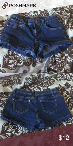 Seduction Denim Shorts Stretchy, comfortable. Size 5. Never worn. Brand new condition! Charlotte Russe Shorts Jean Shorts
