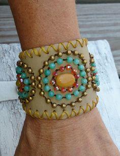 Turquoise Beaded Leather Cuff Bracelet Western Cowgirl Boho Jewelry by SecretStashBoutique on Etsy