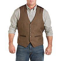 Oak Hill Men's Big and Tall Windowpane Vest