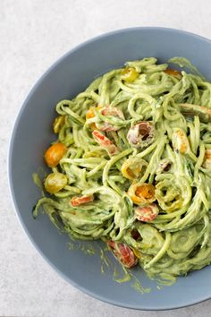 Zucchini Noodles with Avocado Sauce. Sounds yum but may need some sea salt and a grind or 2 of fresh pepper.