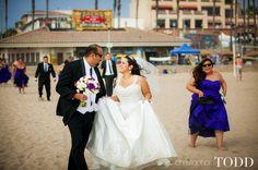 bride and groom portraits huntington beach downtown