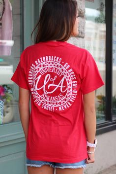 University of Arkansas Monogram Tee {Red} - The Fair Lady Boutique - 1
