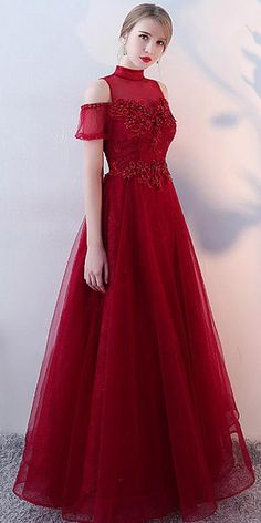 Modern Tulle High Collar Floor-length A-line Evening Dresses With Beadings Prom Dress A Line Evening Dress, Formal Evening Dresses, Prom Dresses, Red Frock, Girl Fashion Style, Vestido Casual, High Collar, Ball Gowns, Ideias Fashion