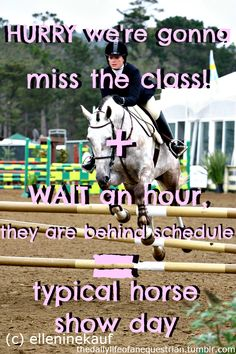 Classic in Hunters... just makes you appreciate the exact ride times in Eventing and Dressage even more (1:13?  No prob! :)