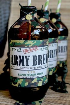 Army Men Drink Bottle Labels - DIY PRINTABLE FILE - Boys Birthday Par…