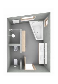 Badplanung: ein schräges Bad mit T-Lösung Bathroom planning: an oblique bathroom with a T solution planning Bathroom Plans, Bathroom Layout, Small Bathroom, Master Bathrooms, Bathroom Ideas, Hall Interior, Bathroom Interior Design, Bathroom Designs, Casa Loft