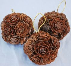Mini Pine Cone Rose Balls - 2-3 inches each