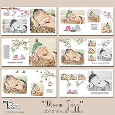 10x10 Photobook Album Photoshop Templates Bloom by TiramisuDesign, $25.00
