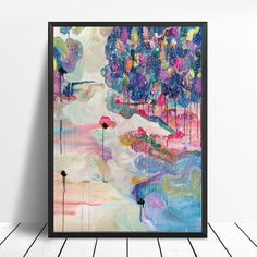 """Big Size Art Print of """"Forest in the snow"""" abstract landscape painting Large Abstract Wall Art, Abstract Landscape Painting, Large Wall Art, Landscape Paintings, Original Art, Original Paintings, Canvas Prints, Art Prints, Blue Art"""