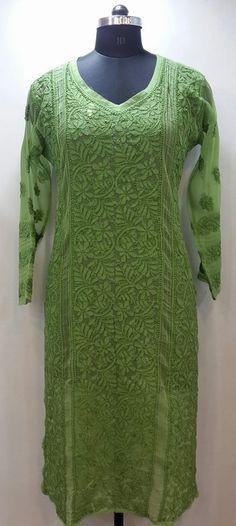 Lucknow Chikan Online Kurti Green Faux Georgette with very fine murri, shadow & kangan work with designer neckline $35