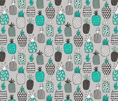 Pineapple Geometric in Mint Green on Grey  fabric by caja_design on Spoonflower - custom fabric