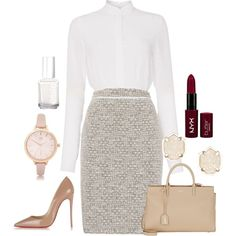 A fashion look from December 2015 featuring HUGO dresses, Christian Louboutin pumps and Yves Saint Laurent tote bags. Browse and shop related looks. Business Chic, Business Outfits, Business Fashion, Office Fashion, Work Fashion, Fashion Outfits, Trendy Fashion, Look Formal, Modelos Fashion