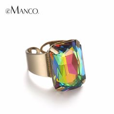 eManco 15 Color Popular Simple Cuff Open Statement Ring for Women Multicolor Crystal Opal Ancient Gold Plated Adjustable Jewelry | Price: US $2.03 | http://www.bestali.com/goto/1984855198/10