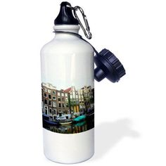3dRose Not one house resembles another on this stroll through the streets of Amsterdam, Sports Water Bottle, 21oz, White
