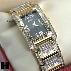 Men-Gold-Tone-Iced-Out-Bling-Luxury-Elgin-Rectangle-Dress-Bracelet-Watch-GW124G