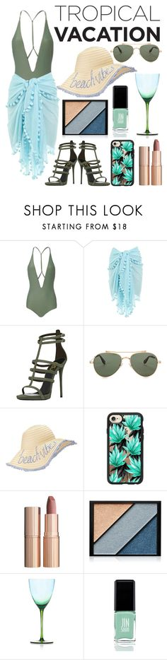"""""""beach vacay"""" by ethanxfoo ❤ liked on Polyvore featuring Mikoh, Melissa Odabash, Givenchy, Miss Selfridge, Casetify, Charlotte Tilbury, Elizabeth Arden, Kim Seybert and JINsoon"""
