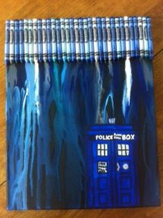 Draw a TARDIS outline with a sharpie, and then completely cover it with tape so that it doesn't get covered by the melted crayons. Do the steps for normal melted crayon art with the hair dryer and then when it's done, take the tape off and paint inside the Tardis outline! Would make a great art piece for the home.