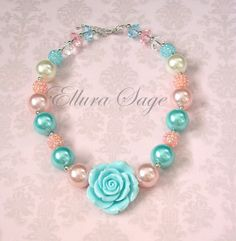 Hey, I found this really awesome Etsy listing at https://www.etsy.com/listing/198608181/aqua-rose-necklace-aqua-and-pink-chunky