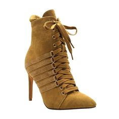 Ester-3 Women's Lace Up Heeled Bootie- Nude