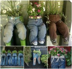 DIY Old Jeans Planters Are you looking for some ideas to recycle old jeans? DIY Old Jeans Planters is a very special one to add something distinctive to your garden or lawn. Diy Old Jeans, Recycle Jeans, Denim Jeans, Jeans Recycling, Diy Recycling, Jeans Shoes, Upcycle, Garden Crafts, Garden Projects