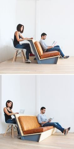 This zig-zag sofa is made out of plywood and also has a built-in counter in the back. It's ideal for movie nights and sports viewing at home. Click the link for the full instructions + material list: http://www.homemade-modern.com/ep108-zig-zag-sofa/
