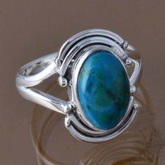 HOT SELL 925 STERLING SILVER CHRYSOCOLLA RING 4.51g DJR8316 SZ-7 #Handmade #Ring