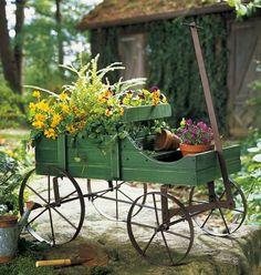 Decorative Decor Garden Wagon Flower Pot Plant Planter Stand Lawn Outdoor Yard