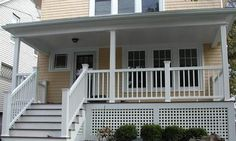 White TimberTech Front Porch with Lattice Skirting - Front Porches ...