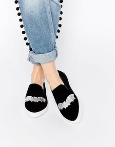 ASOS DARLA Halloween Bat Pointed Plimsolls