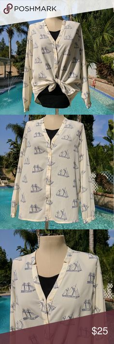 New~Tommy Hilfiger Blouse Beautiful Sheer Blouse, Sail boat Print~ Blazers are great with this top for any special occasions. Tommy Hilfiger Tops Blouses