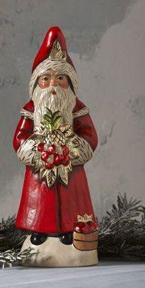 Vaillancourt Santa with Golden Pineapple Figure