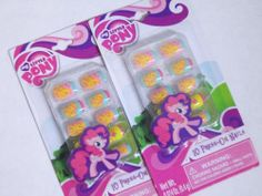 Kids False PRESS ON Nails MY LITTLE PONY Pink French Tips Airbrushed DECALS 20