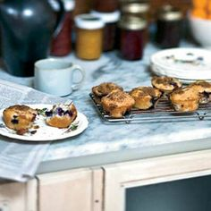 Blueberry-Sour Cream Muffins by Food & Wine via delish.com