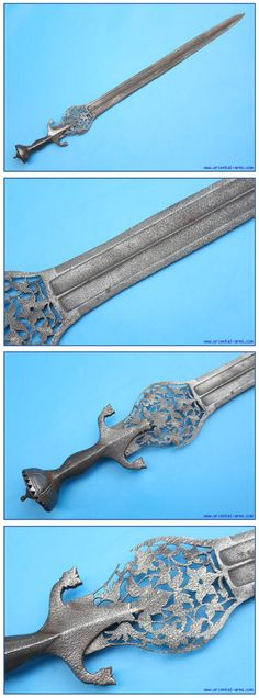 Pahari sword (cobra sword), this type of sword is generally referred to as Indo-Afghan, rightfully describing the mixed Indian and Afghan elements. The are characterized by the Afghan style handle and Indian straight blade bulged at the ricasso. This one has a rather long 31 inches blade, widens to finely pierced 4 inches wide bulge at its top. Classical Afghan whole steel handle. Total length 36 ½
