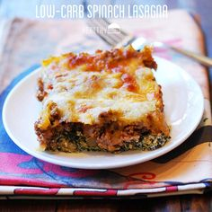 This low carb spinach lasagna is delicious. Warm layers of seasoned spinach, ground beef and melted cheese – you won't miss the noodles at all!