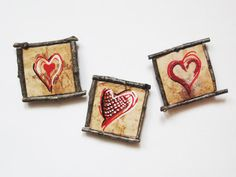 Magnets Rustic Hearts Set of 3 Twig Frame by Art2Carry on Etsy, $11.75