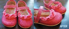 adding glitter and ruffles to scuffed-up toddler shoes.