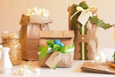 Create a nice inexpensive Christmas look with embellished brown paper lunch bags❣