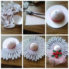quilling şapka magnet yapımının fotograflı anlatımı