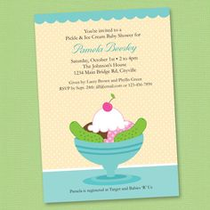 Ice Cream and Pickles Baby Shower Blue by Kellymedinastudios