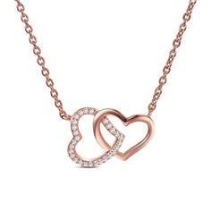 SWEETIEE&reg Heart with Heart Chic 925 Sterling Silver Pendant Necklaces, with Micro Pave AAA Cubic Zirconia, Rose GoldPSize: about 15.7' long, chian extension: 50mm, pendant: 12x17mm; packing size: 83x63x38mm.