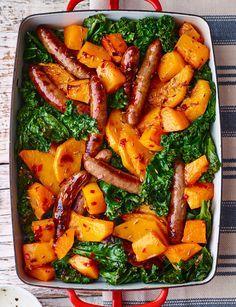 Roast sausage and squash salad - Roast sausage and squash salad Sausage, butternut and kale traybake – the easiest, tastiest dinner to make tonight Kale Recipes, Dinner Recipes, Cooking Recipes, Healthy Recipes, Chicken Recipes, Healthy Dinners, Recipies, Bratwurst, Clean Eating